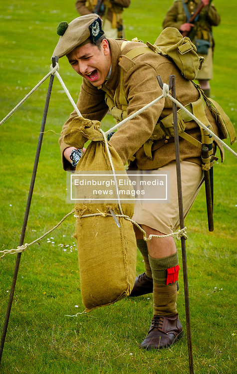 Sunday 7th May 2017 East Fortune:  Wartime Experience at the National Museum of Flight, East Fortune.  Bayonet practice display with reenactors in Gordon Highlanders uniform.<br /> <br /> (c) Andrew Wilson | Edinburgh Elite media