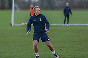 York City midfielder, on loan from Gillingham, Danny Galbraith  York City FC Training Session at Bootham Crescent, York, England on 27 November 2015. Photo by Simon Davies.
