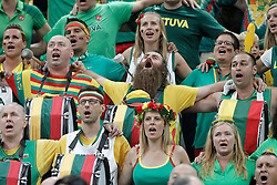 09.09.2014, City Arena, Barcelona, ESP, FIBA WM, Litauen vs Türkei, Viertelfinale, im Bild Lithuania's supporters sing the national anthem // during FIBA Basketball World Cup Spain 2014 quarterfinal match between Lithuania and Turkey at the City Arena in Barcelona, Spain on 2014/09/09. EXPA Pictures © 2014, PhotoCredit: EXPA/ Alterphotos/ Acero<br /> <br /> *****ATTENTION - OUT of ESP, SUI*****