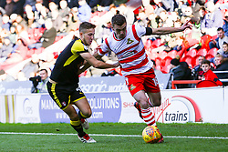 Will Vaulks of Rotherham United makes a challenge on Harry Toffolo of Doncaster Rovers - Mandatory by-line: Ryan Crockett/JMP - 11/11/2017 - FOOTBALL - The Keepmoat Stadium - Doncaster, England - Doncaster Rovers v Rotherham United - Sky Bet League One