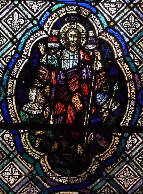 Stained glass of Christ resurrected inside chapel at St. Joan of Arc Church in Nashotah, Wis. (Photo by Sam Lucero)