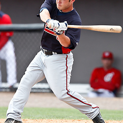 March 4, 2011; Viera, FL, USA; Atlanta Braves left fielder Matt Young (17) during a spring training exhibition game against the Washington Nationals at Space Coast Stadium.  Mandatory Credit: Derick E. Hingle