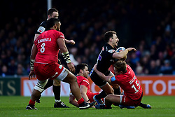 Nic White of Exeter Chiefs is tackled by Max Malins of Saracens - Mandatory by-line: Ryan Hiscott/JMP - 29/12/2019 - RUGBY - Sandy Park - Exeter, England - Exeter Chiefs v Saracens - Gallagher Premiership Rugby