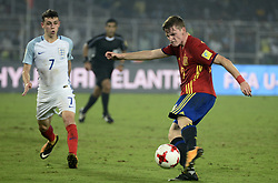 October 28, 2017 - Kolkata, West Bengal, India - Spain Segio Gomez( jersey 10) kicks the football during the FIFA U 17 World Cup India 2017 Final match in Kolkata. Player of England and Spain in action during the FIFA U 17 World Cup India 2017  Final match on October 28, 2017 in Kolkata. England wins FIFA U 17 World Cup 5 - 2 goals against Spain. (Credit Image: © Saikat Paul/Pacific Press via ZUMA Wire)