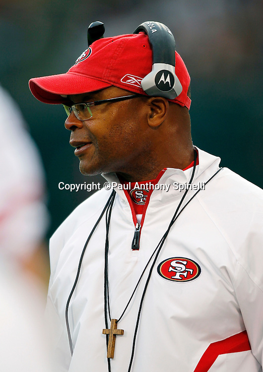 San Francisco 49ers Head Coach Mike Singletary looks on during the NFL preseason week 3 football game against the Oakland Raiders on Saturday, August 28, 2010 in Oakland, California. The 49ers won the game 28-24. (©Paul Anthony Spinelli)