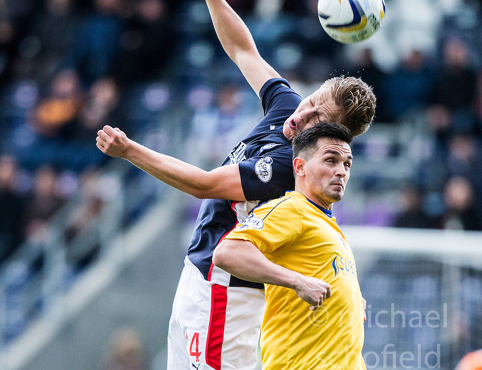 Falkirk's Peter Grant and Cowdenbeath's Sean Higgins.<br /> Falkirk 6 v 0 Cowdenbeath, Scottish Championship game played at The Falkirk Stadium, 25/10/2014.