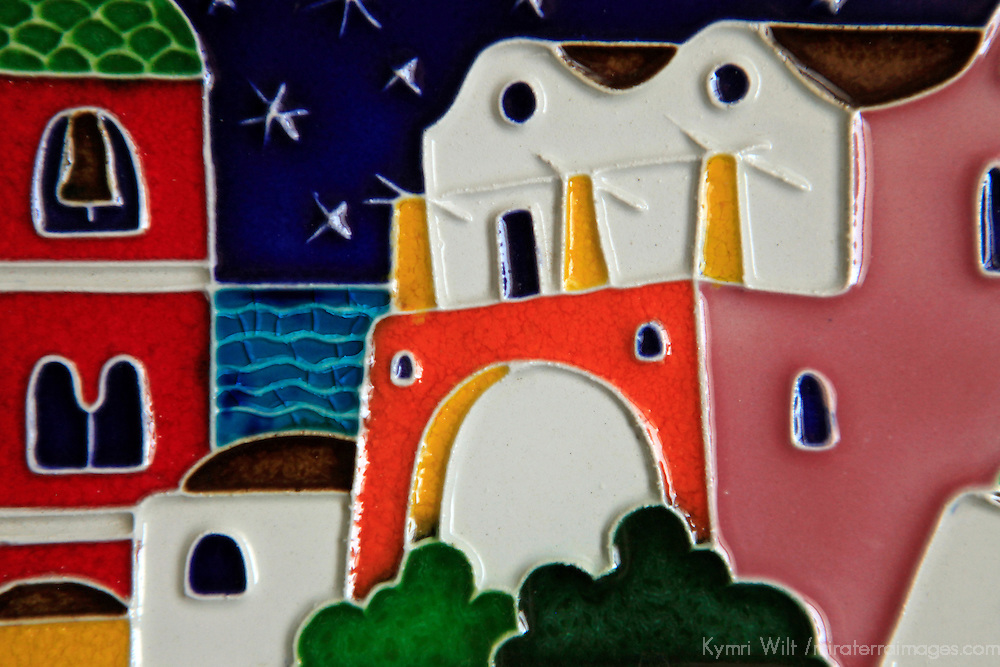 Europe, Italy. Italian hand-painted glazed ceramic scene.