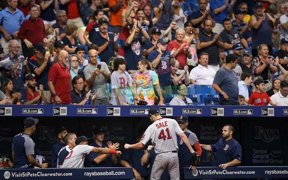 August 8, 2017 - St. Petersburg, Florida, U.S. - WILL VRAGOVIC   |   Times.Boston Red Sox starting pitcher Chris Sale (41) greeted at the dugout after the eighth inning of the game between the Boston Red Sox and the Tampa Bay Rays at Tropicana Field in St. Petersburg, Fla. on Tuesday, August 8, 2017. (Credit Image: © Will Vragovic/Tampa Bay Times via ZUMA Wire)