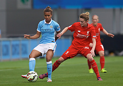 MANCHESTER, ENGLAND - Sunday, August 30, 2015: Manchester City's Nikita Parris and Liverpool's Hannah Dale during the League Cup Group 2 match at the Academy Stadium. (Pic by Paul Currie/Propaganda)