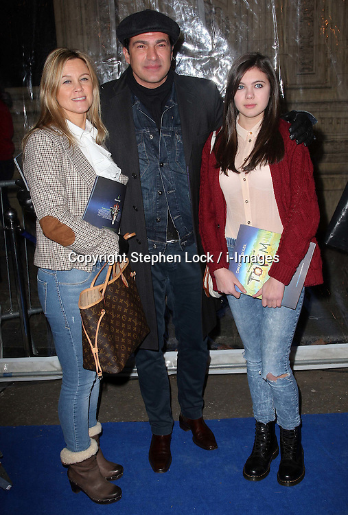 Tamer Hassan with wife Karen and daughter Bell  arriving at the Cirque Du Soleil: Totem - gala night held at  the Royal Albert Hall in London, Thursday 5th January 2012. Photo by: Stephen Lock / i-Images