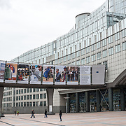 The main entrance of the European Parliament Building in Brussels, Belgium.
