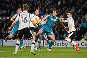 Wigan Athletic striker Yanic Wildschut (31) has a shot for Wigan (0-0) during the EFL Sky Bet Championship match between Derby County and Wigan Athletic at the iPro Stadium, Derby, England on 31 December 2016. Photo by Richard Holmes.