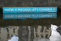 Environmental message on River Liffey Dublin Ireland