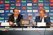 Milano 24 Luglio 2013<br /> Basket Europei Maschili 2013/2014<br /> Media Day Nazionale Italiana Pallacanestro Maschile<br /> nella foto Pianigiani Petrucci<br /> foto Ciamillo