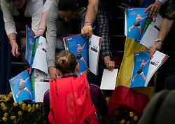 February 19, 2019 - Dubai, ARAB EMIRATES - Simona Halep of Romania signs autographs after their second-round match at the 2019 Dubai Duty Free Tennis Championships WTA Premier 5 tennis tournament (Credit Image: © AFP7 via ZUMA Wire)