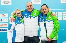 Nina Jovan, Ziga Dobnikar and Matic Svab during presentation of Slovenian Young Athletes before departure to EYOF (European Youth Olympic Festival) in Vorarlberg and Liechtenstein, on January 21, 2015 in Bled, Slovenia. Photo by Vid Ponikvar / Sportida
