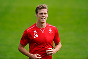 Sean Raggett (25) of Lincoln City warming up before the EFL Sky Bet League 2 match between Exeter City and Lincoln City at St James' Park, Exeter, England on 19 August 2017. Photo by Graham Hunt.