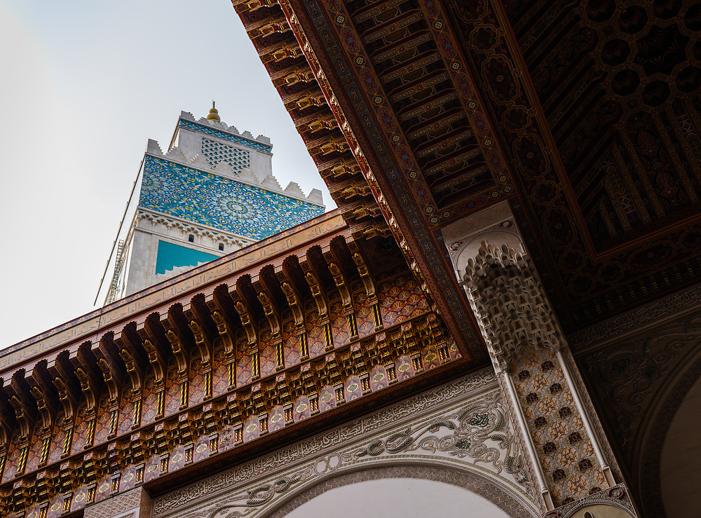 CASABLANCA, MOROCCO - CIRCA APRIL 2017: Detail of the Mosque Hassan II rooftop open and view of the minaret in Casablanca.