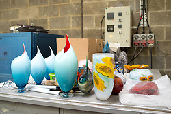 May 6, 2017 - London, United Kingdom - Glass workers are pictured while crafting a glass creation in London on May 6, 2017. James Devereux and Katherine Huskie, are the founders of Devereux and Huskie, a studio that specialises in enabling artists to realise their ideas in glass. (Credit Image: © Alberto Pezzali/NurPhoto via ZUMA Press)