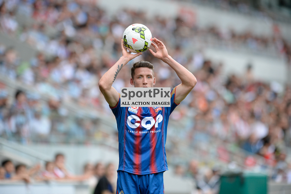 Scott Neville (NUJ) The Hyundai A-League match between Melbourne City &amp; Newcastle Jets held at AAMI Park, Melbourne, Victoria on 19th October 2014.<br /> MARK AVELLINO | SportPix.org.uk