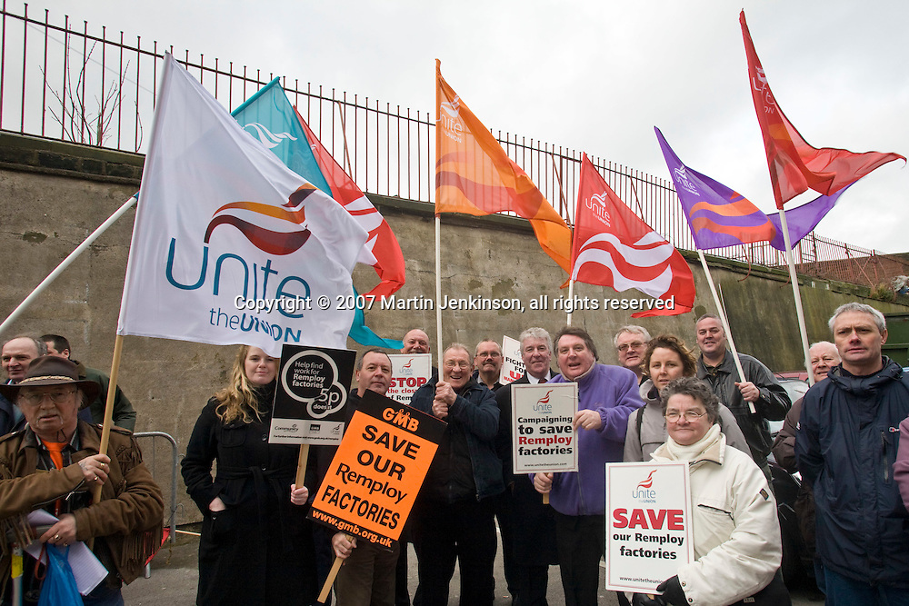 Remploy staff protest against Anne McGuire MP, Minister for Disabled People...© Martin Jenkinson, tel 0114 258 6808 mobile 07831 189363 email martin@pressphotos.co.uk. Copyright Designs & Patents Act 1988, moral rights asserted credit required. No part of this photo to be stored, reproduced, manipulated or transmitted to third parties by any means without prior written permission