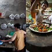 Home kitchen on Phu Quoc Island, Vietnam (left). Chim Sao restaurant, Hanoi, Vietnam (right).