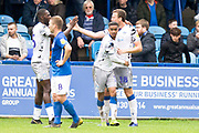 Colchester United forward Theo Robinson (not in the picture)tocelebrates his goal to make it 1-1 during the EFL Sky Bet League 2 match between Macclesfield Town and Colchester United at Moss Rose, Macclesfield, United Kingdom on 28 September 2019.