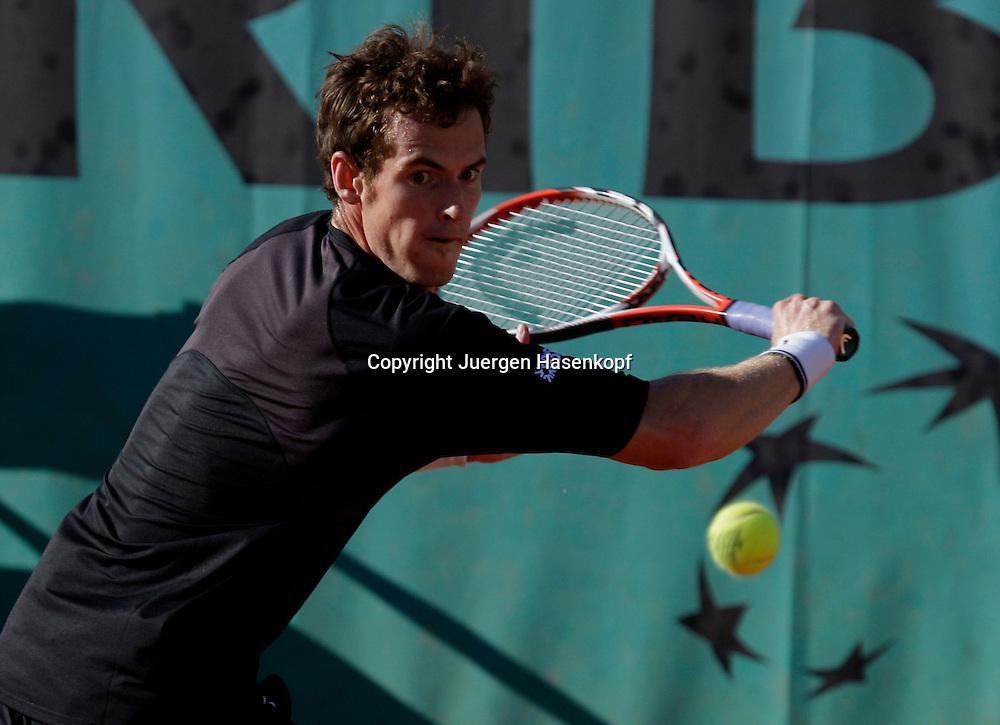 French Open 2009, Roland Garros, Paris, Frankreich,Sport, Tennis, ITF Grand Slam Tournament,.Andy Murray (GBR) spielt eine Rueckhand,backhand,action.....Foto: Juergen Hasenkopf..