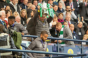 Dorus de Vries holds the William Hill Scottish Cup aloft following their victory today in the William Hill Scottish Cup Final match between Heart of Midlothian and Celtic at Hampden Park, Glasgow, United Kingdom on 25 May 2019.
