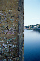 Graffiti over the Arno, Florence, Italy.