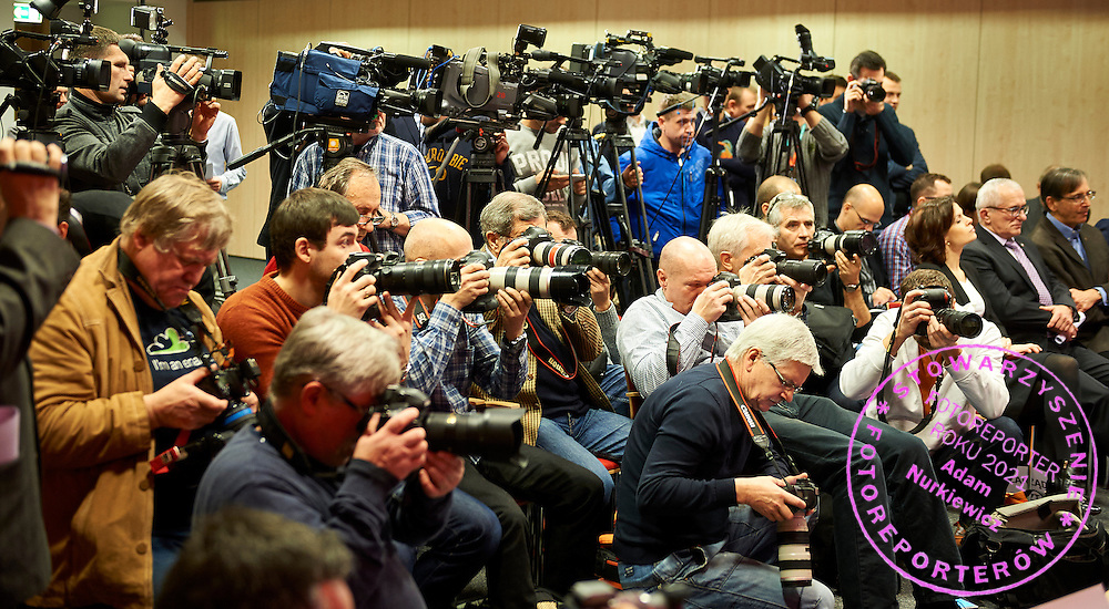 Photographers and media journalists during press conference of Polish Tennis Association before Fed Cup match at National Stadium in Warsaw, Poland.<br /> <br /> Poland, Warsaw, December 15, 2014<br /> <br /> Picture also available in RAW (NEF) or TIFF format on special request.<br /> <br /> For editorial use only. Any commercial or promotional use requires permission.<br /> <br /> Mandatory credit:<br /> Photo by &copy; Adam Nurkiewicz / Mediasport
