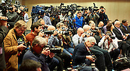 Photographers and media journalists during press conference of Polish Tennis Association before Fed Cup match at National Stadium in Warsaw, Poland.<br /> <br /> Poland, Warsaw, December 15, 2014<br /> <br /> Picture also available in RAW (NEF) or TIFF format on special request.<br /> <br /> For editorial use only. Any commercial or promotional use requires permission.<br /> <br /> Mandatory credit:<br /> Photo by © Adam Nurkiewicz / Mediasport