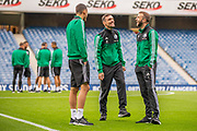Sandro Kulenovic (#99), Marko Vesovic (#29) and Domagoj Antolic (#7) of Legia Warsaw share a joke before during the Europa League Play Off leg 2 of 2 match between Rangers FC and Legia Warsaw at Ibrox Stadium, Glasgow, Scotland on 29 August 2019.