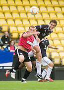 Dundee trialist Ewan Moyes outjumps Southend United's Sean Clohessy - Dundee v Southend United - East Fife Tournament at New Bayview<br /> <br /> &copy; David Young<br /> <br /> <br /> http://www.davidyoungphoto.co.uk