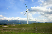 Spain, Andalusia, Wind turbines at the open spaces of western Spain