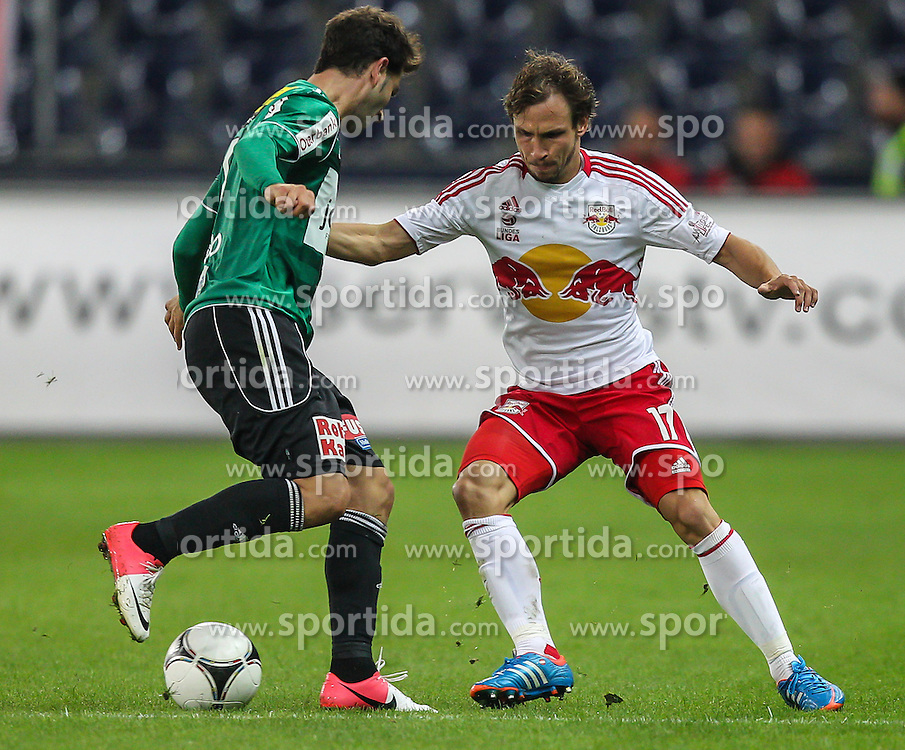 15.09.2012, Red Bull Arena, Salzburg,  AUT, 1. FBL, Red Bull Salzburg vs SV Josko Ried, 8. Runde, im Bild  Ignacio Rodriguez-Ortiz, (SV Josko Ried, #11)und Andreas Ulmer, (FC Red Bull Salzburg, #17) // during Austrian Football Bundesliga Match, 8th round, between FC Red Bull Salzburg and SV Josko Ried at the Red Bull Arena, Salzburg Austria on 2012/09/15. EXPA Pictures © 2012, PhotoCredit: EXPA/ Roland Hackl