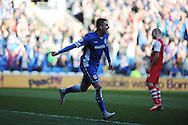 Cardiff city's Federico Macheda celebrates after he scores his teams 1st goal. Skybet football league championship match, Cardiff city v Charlton Athletic at the Cardiff city Stadium in Cardiff, South Wales on Saturday 7th March 2015.<br /> pic by Andrew Orchard, Andrew Orchard sports photography.