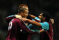 Photo: Paul Greenwood.<br />Blackburn Rovers v West Ham United. The Barclays Premiership. 17/03/2007.<br />Bobby Zamora (L) celebrates the winning goal with Carlos Tevez