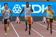 Kukyoung Kim (South Korea), Yendountien Tiebekabe (Togo), Ngan Ngoc Nghia (Vietnam), 100m Men - Preliminary Round, Heat 2, during the 2019 IAAF World Athletics Championships at Khalifa International Stadium, Doha, Qatar on 27 September 2019.