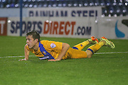 Mansfield Town midfielder Jack Thomas  during the The FA Cup first round match between Oldham Athletic and Mansfield Town at Boundary Park, Oldham, England on 17 November 2015. Photo by Simon Davies.