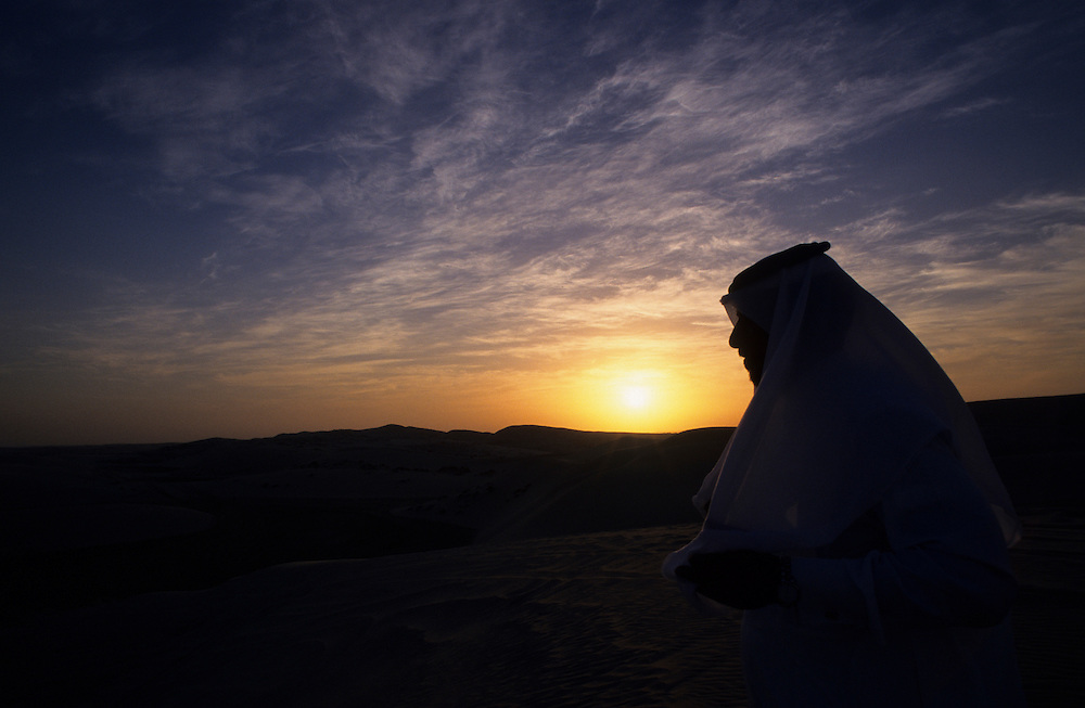 Qatar, Middle East, Asia, melancholy sunset in the desert.