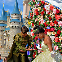 Princess Tiana and Prince Naveen on Parade Float at Magic Kingdom in Orlando, Florida<br />