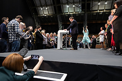 © Licensed to London News Pictures . 26/05/2019. Manchester, UK.  HENRIK NIELSEN (Brexit Party) delivers his victory speech . The count for seats in the constituency of North West England in the European Parliamentary election , at Manchester Central convention centre . Photo credit: Joel Goodman/LNP