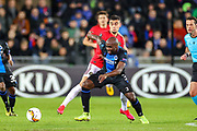 Manchester United midfielder Andreas Pereira (15) tussles with Club Brugge midfielder Eder Balanta (3) during the Europa League match between Club Brugge and Manchester United at Jan Breydel Stadion, Brugge, Belguim on 20 February 2020.
