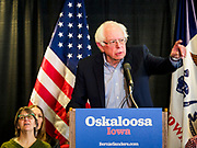 07 APRIL 2019 - OSKALOOSA, IOWA:  US Senator BERNIE SANDERS speaks at a campaign event Sunday. Sanders held a town hall campaign event on the campus of  William Penn University in Oskaloosa. Sanders is one of dozens of Democratics who hope to be the party's nominee for the 2020 US Presidential election. Iowa holds the first in the country selection contest with state caucuses on Feb. 3, 2020.   PHOTO BY JACK KURTZ