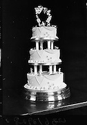 Wedding Cake from Johnston, Mooney and O'Brien bakers..1963..01.05.1963..05.01.1963..1st May 1963..In conjunction with Woman's Way magazine, Johnston, Mooney and O'Brien put on display a selection of Wedding and Occasion cakes produced by their bakers at Leinster Street, Dublin...Picture shows one of the Wedding cakes produced by the master bakers at Johnston,Mooney and O'Brien at their bakery in Dublin.