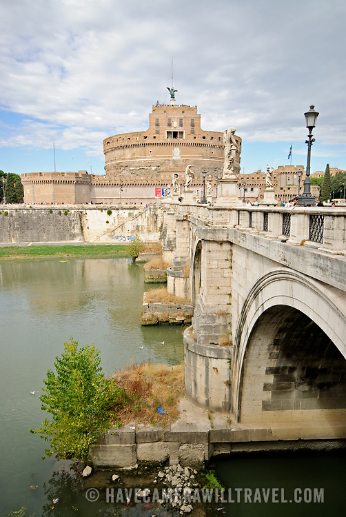 A shot of the historic jail, the Castel Sant' Angelo, from across the Tiber River in Rome, ITaly