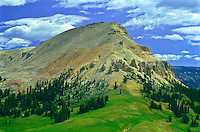 The west side of 10,514 ft Beartooth Butte of the Beartooth Mountains.  Shoshone National Forest, Wyoming.