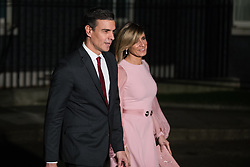 London, UK. 3 December, 2019. Pedro Sanchez, Prime Minister of Spain, leaves with his wife María Begoña Gómez following a reception for NATO leaders at 10 Downing Street on the eve of the military alliance's 70th anniversary summit at a luxury hotel near Watford.