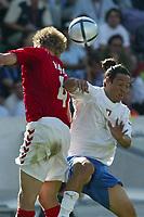 Guimaraes 14/6/2004 <br />Campionati Europei - European Championships 2004 <br />Danimarca Italia <br />martin laursen mauro camoranesi<br /><br />Photo Graffiti